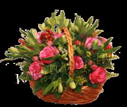 Корзина розовых пионовидных роз