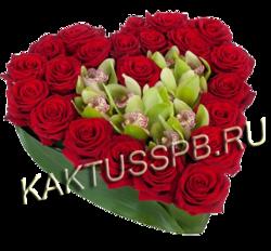 Сердце из роз и орхидеи