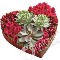 Сердце из роз и суккулентов.